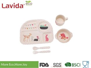 Cina Animal Word Print Firm Bamboo Childrens Dinner Set Biodegradable Untuk Indoor Dan Outdoor pemasok