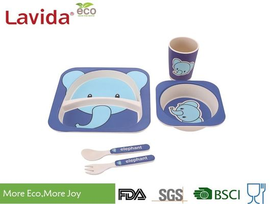 Baby Elephant Design Bamboo Childrens Dinner Set, Recycled Natural Bamboo Kids Dinnerware