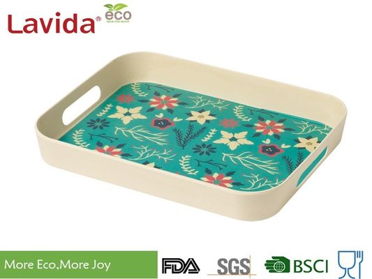 Best Seller Christmas New Desain Natural Plant Fiber Tray Set 2 buah serat Bambu Tray Plastic Food Drink Melayani Tray
